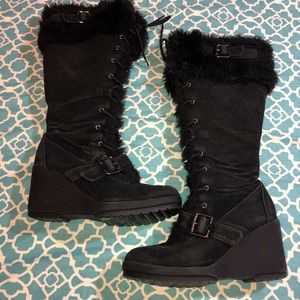 Breckelles fur wedge boots size 8